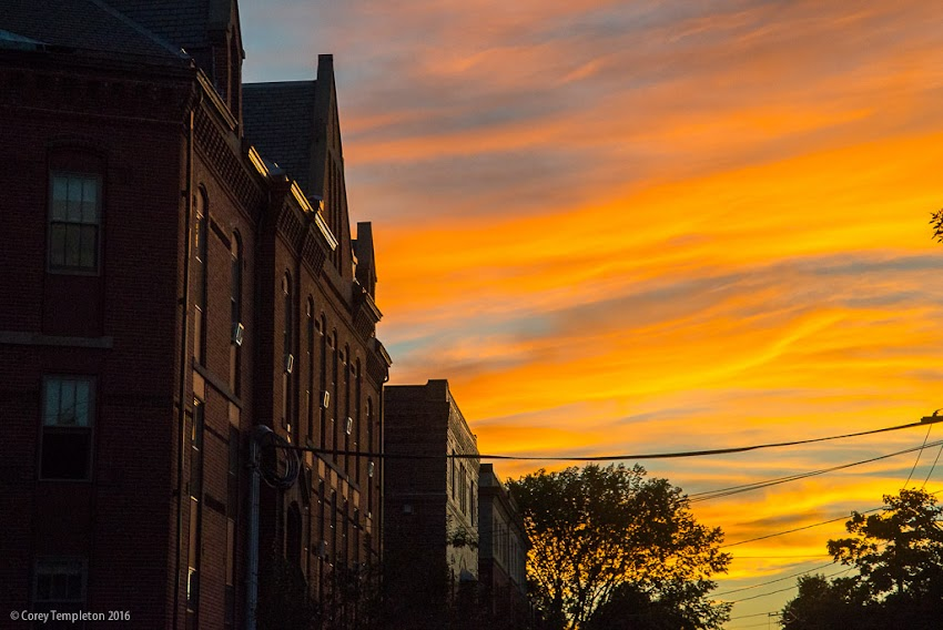 Portland, Maine USA September 2016 photo by Corey Templeton of nice sunset colors in the sky beyond the old Butler School building at the corner of West and Pine Streets.
