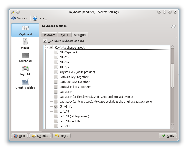 How to configure keyboard layouts in Unity, GNOME 3, KDE - Linux