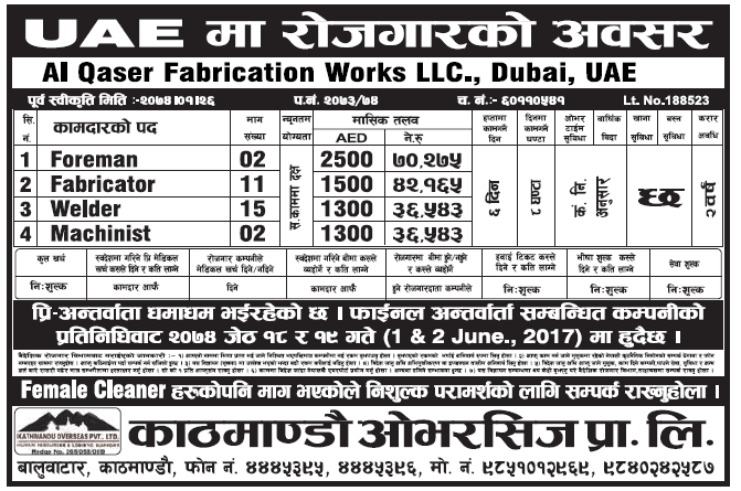 Jobs in UAE for Nepali, Salary Rs 70,275