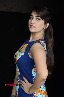 Actress Anchor Manjusha Pictures in Blue Short Dress at Jaguar Movie Success Meet .COM 0002.jpg