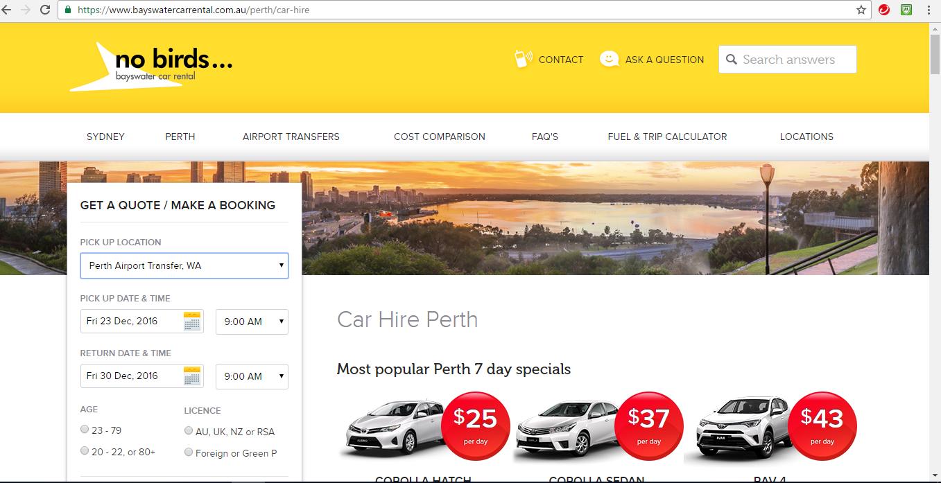 Budget Car Rent Perth