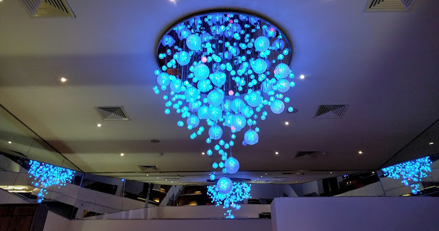 Waterford crystal chandelier showing Dublin colors in the players lounge at Croke Park