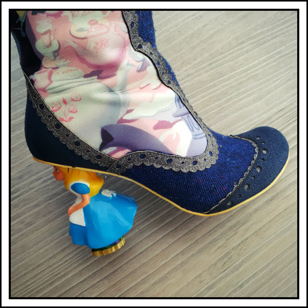 wearing irregular choice alice lost your muchness heel detail