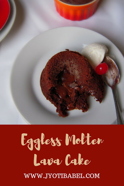 Eggless Molten Lava Chocolate Cake Recipe | A warm chocolate cake that oozes melted chocolate as lava. Perfect for Valentine's day. www.jyotibabel.com