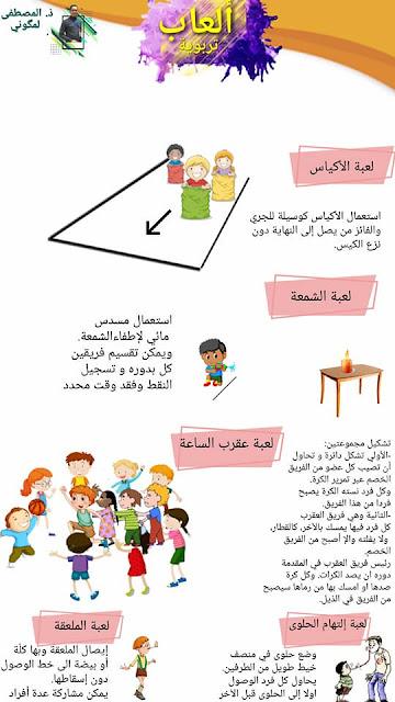 ملصق لألعاب تربوية يمكن اعتمادها في يوم التعاون المدرسي
