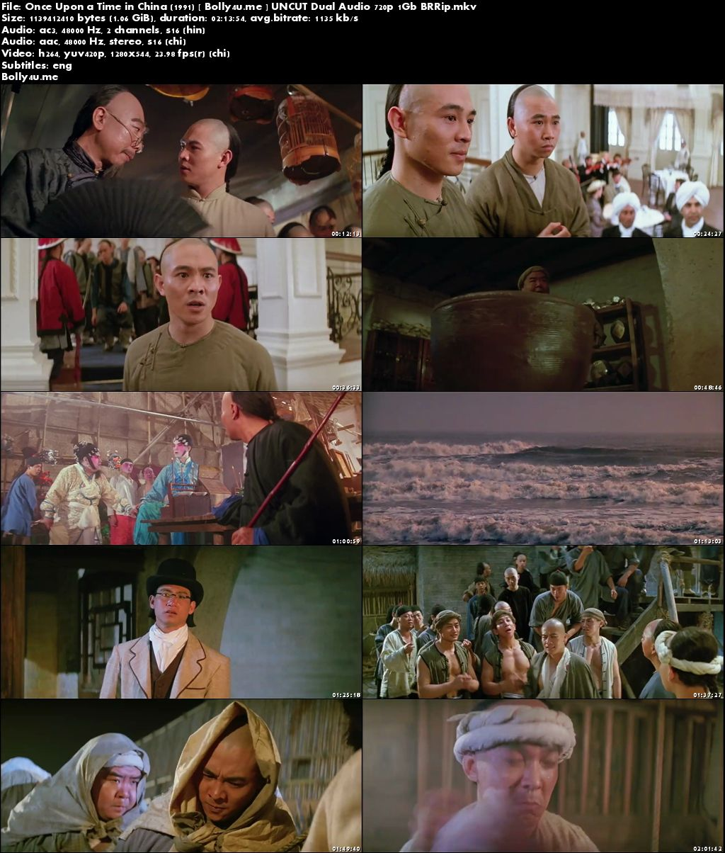 Once Upon a Time in China 1991 UNCUT BRRip 1GB Hindi Dual Audio 720p Download