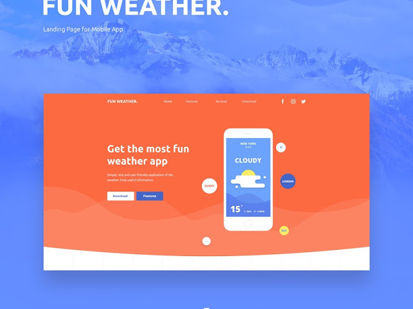 Download WeatherApp Landing PSD Free