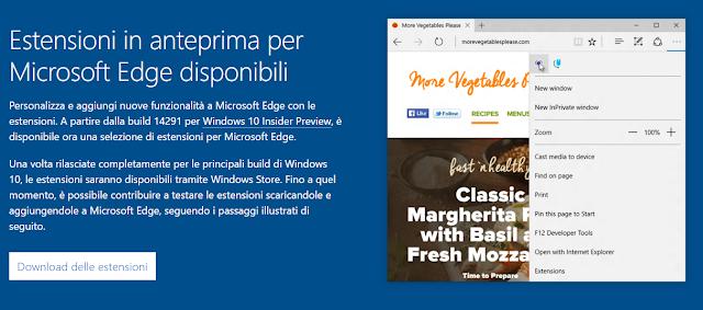 Estensioni per Microsoft Edge rilasciate