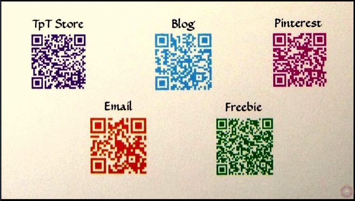 Business card with QR codes in color