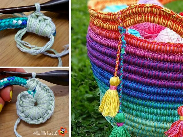 cesta, capazo, crochet, ganchillo, arco iris, cuerda, tejido