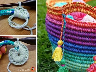 Cesta capazo arco iris entre cuerdas a crochet