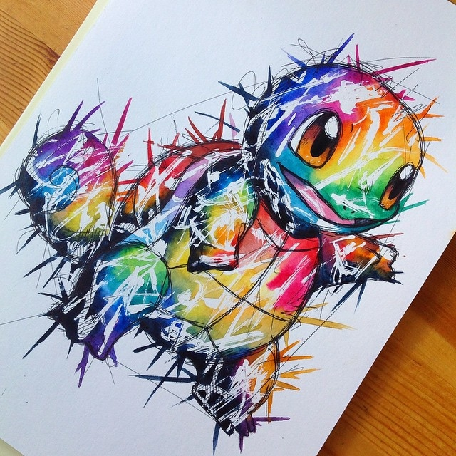 23-Squirtle-Pokemon-Lisa-Marie-Melin-LittleGeekyFanArt-Fan-Art-Comic-Manga-and-Video-Game-Paintings-www-designstack-co