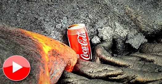 lata de coca lava derretida