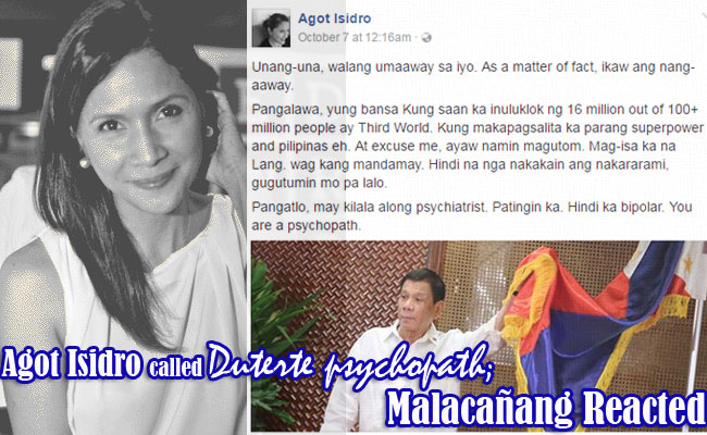 Agot Isidro called Duterte psychopath; Malacañang Reacted