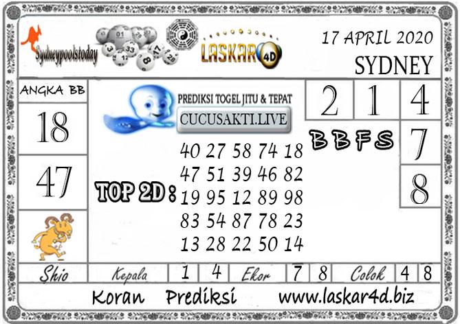Prediksi Togel SYDNEY LASKAR4D 17 APRIL 2020