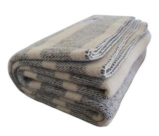 Tan and Cream White Stripe Wool Blanket
