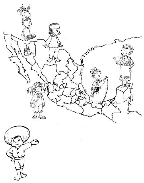 Mapa de México con sus trajes típicos para colorear ~ 4 Dibujo