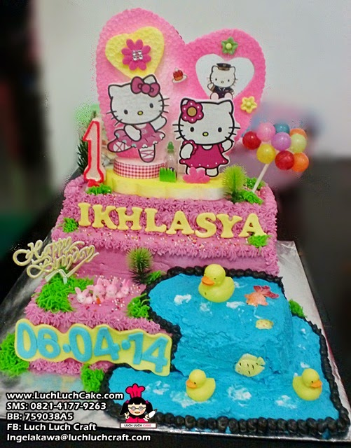 Luch Luch Cake Kue Tart Hello Kitty Pink
