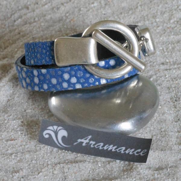 Solde / Bracelet argent et cuir