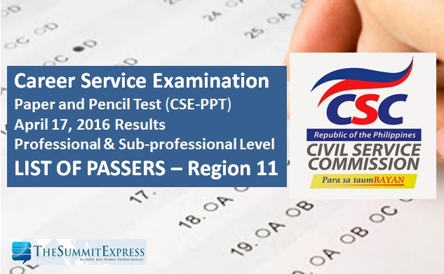 Region 11 Passers: Civil Service Exam (CSE-PPT) results April 2016