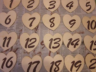 Bridepaperscissors Wooden Heart Table Numbers