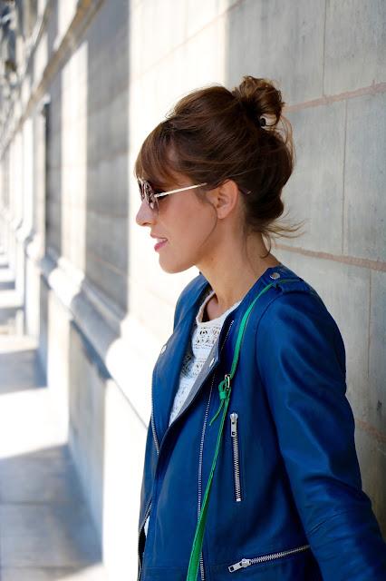 blog veste cuir bleue