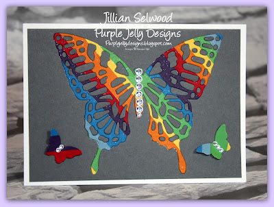 Stampin' Up! Butterfly thinlets, Basic Grey cardstock, Elegant Butterfly punch
