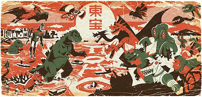 Justin Orr aka Jusscope (US) - Godzilla print