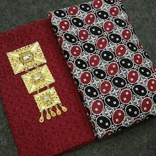 Kain Batik dan Embos 822 motif Kawung maroon