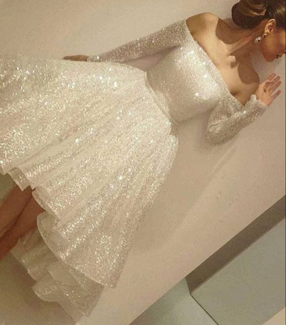 Sparkling White Homecoming Dress