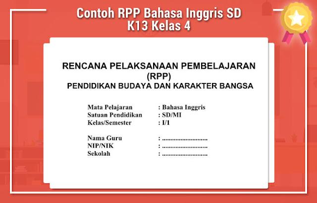 Contoh RPP Bahasa Inggris SD K13 Kelas 4