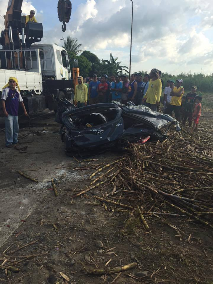 The victims' car was in total wreck Bago City accident