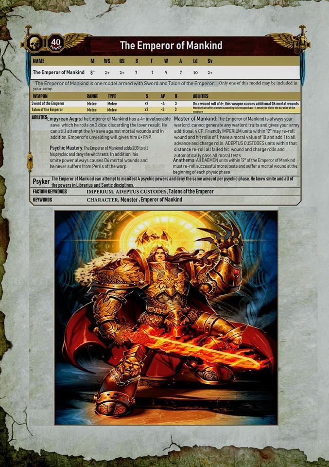 Emperor of Mankind Datasheet