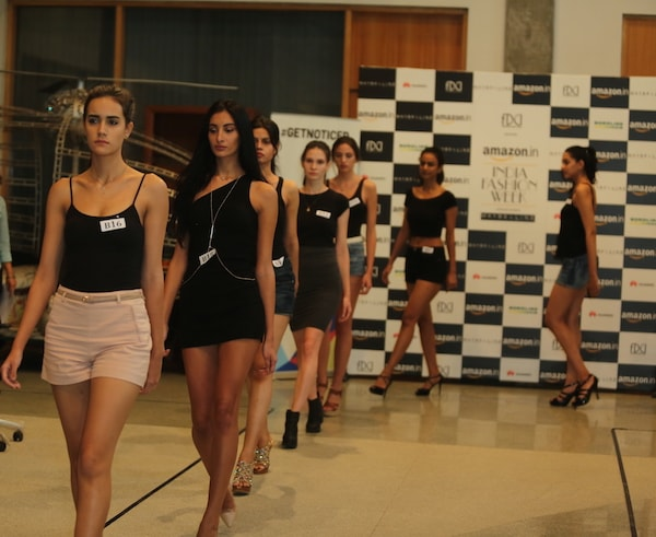 Models walking the ramp for #GETNOTICED  auditions for the Amazon India Fashion Week Spring-Summer 2017, in association with Maybelline New York