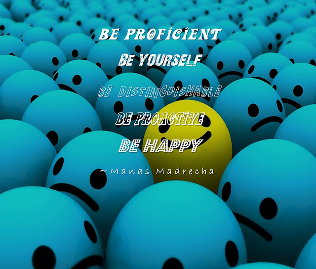 Manas Madrecha, Manas Madrecha Quotes, Manas Madrecha blog, simplifying universe, self-help blog, be different, blue background, smiley, smiley background, motivational quote, inspirational quote