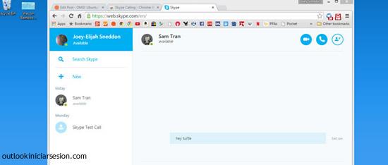 Skype desde outlook.com