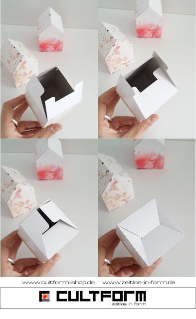 Die Hausbox von Cultform. Ein eindrucksvolles und doch einfaches DIY: kleine Geschenke individuell modern verpacken im aktuellen Watercolor-Trend: Hausbox Wiederverschluss an der Unterseite, so funktioniert es