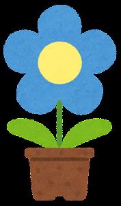 鉢植の花のイラスト(青)