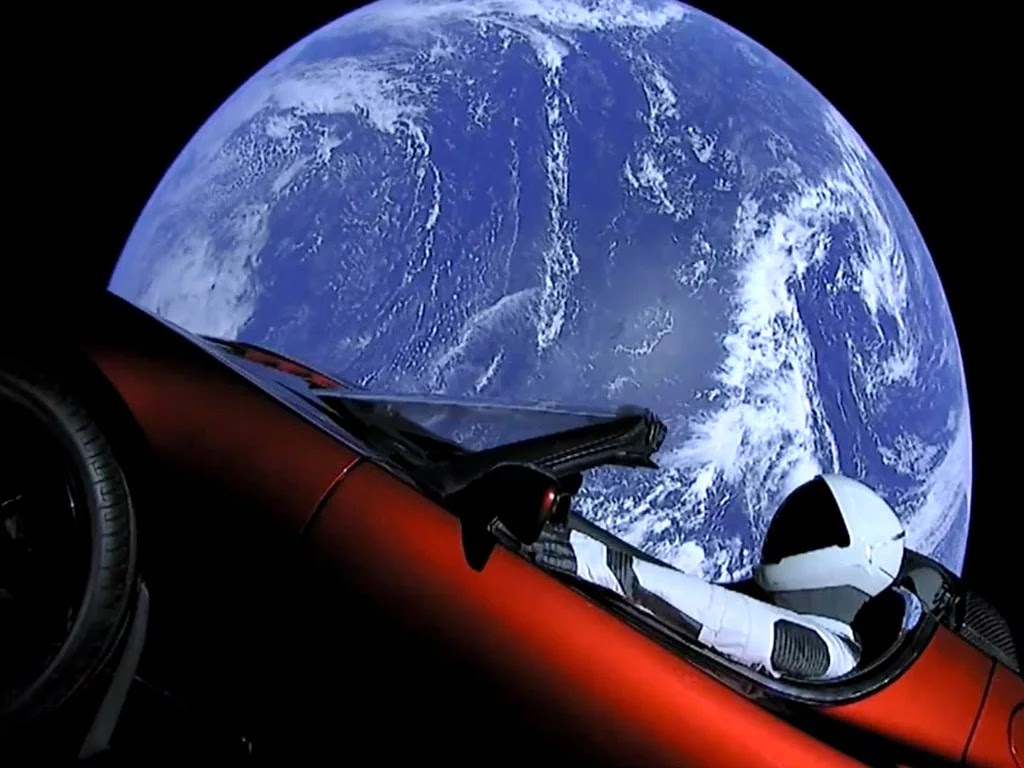 Breathtaking Pictures Of Tesla Car Flying Through Space
