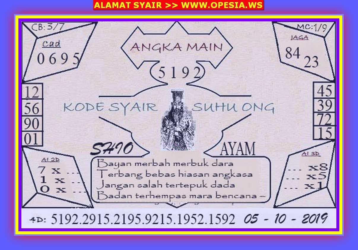 Kode syair Singapore Sabtu 5 Oktober 2019 77