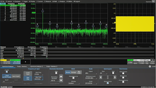 Determining frequency peaks in the acquired signal is simple with the Spectrum Analyzer software option
