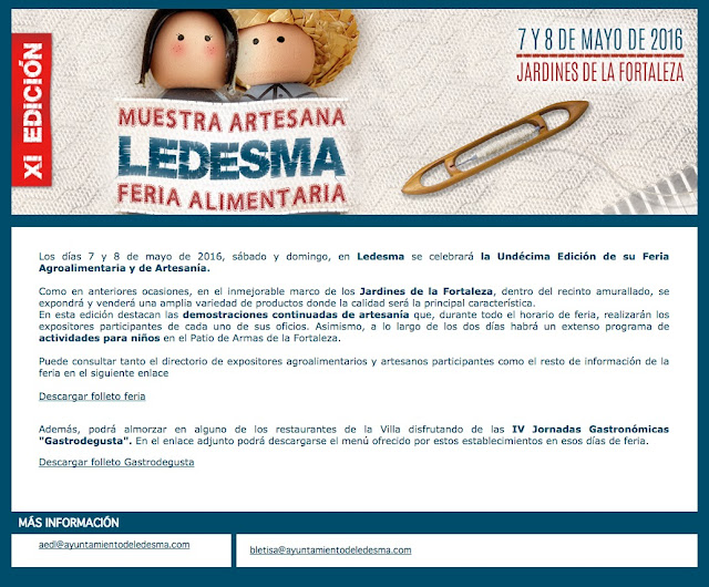 XI FERIA ARTESNA Y ALIMENTARIA DE LEDESMA
