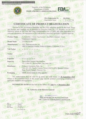 Luxxe Slim FDA Certificate of Product Registration