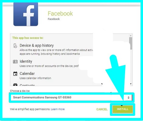 how to install facebook app android