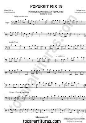 Partitura de Fagot Popurrí Mix 19 Partituras de Tengo una Muñeca vestida de Azul, Los Gatitos, Vamos a contar Mentiras, A mi Burro le duele la cabeza Sheet Music for Bassoon