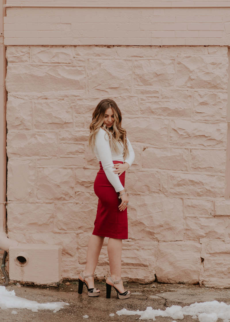 date night outfit, red skirt, pencil skirt