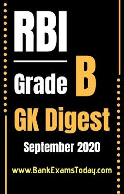 RBI Grade B GK Digest: September 2020