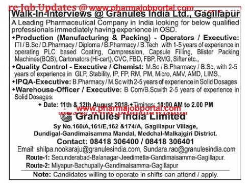 Granules India Limited Walk-In Interviews For Quality Control, Production, IPQA, Warehouse at 11 & 12 August
