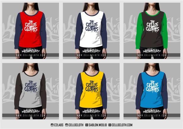 Sablon Kaos - Kombinasi Warna Kaos Raglan Lengan Panjang & 3/4