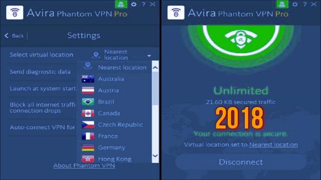 مراجعة أهم مميزات برنامج   Avira Phantom VPN Pro 2018